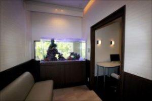 神戸市 皮膚科様 景色をとりいれた窓辺の水槽!